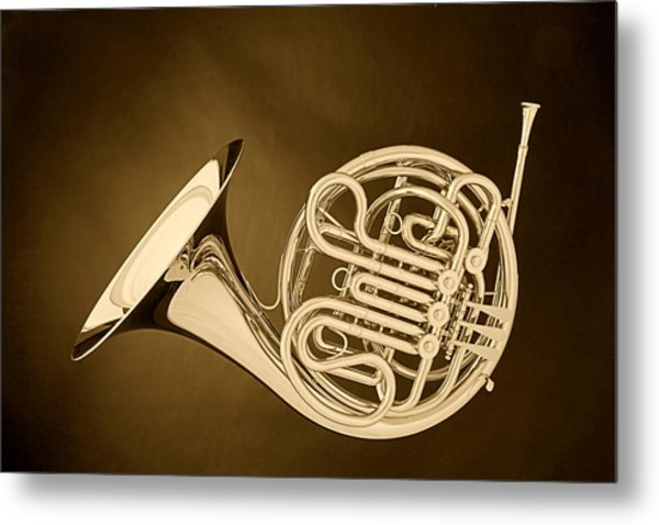 French Horn In Antique Sepia Metal Print