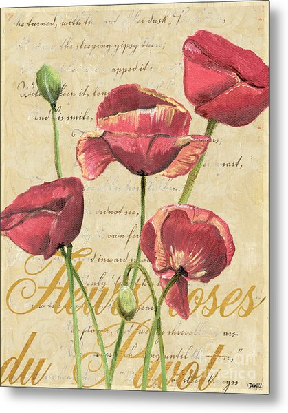 French Pink Poppies 2 Metal Print
