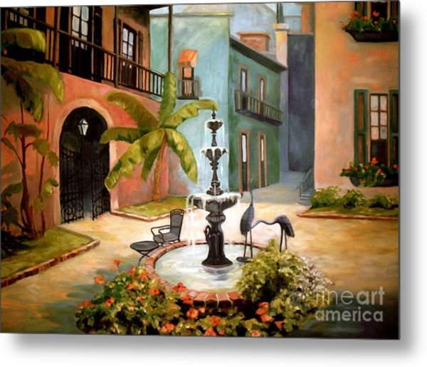 French Quarter Fountain Metal Print