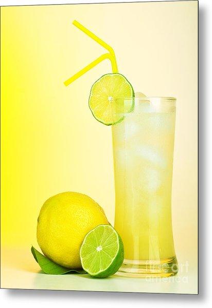 Fresh Lemon Juice Metal Print by Anna Om