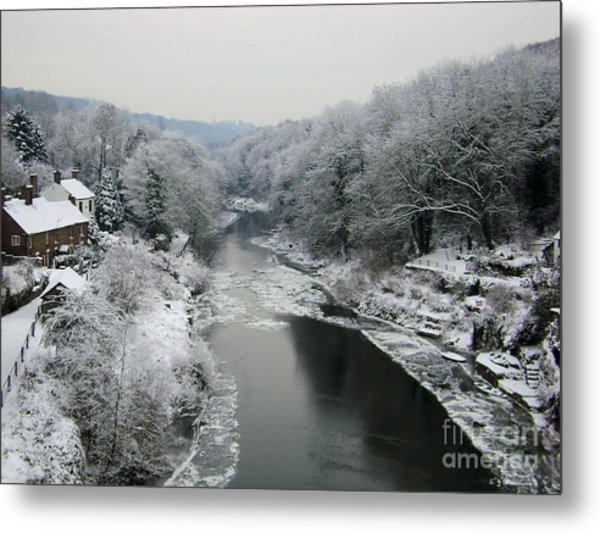 Frosted Trees At Ironbridge Metal Print