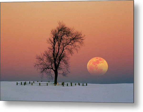 Full Moon Rising Near Graveyard Metal Print