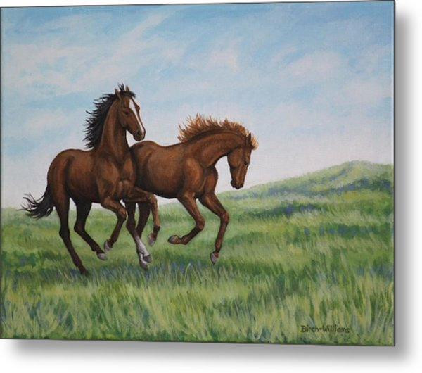 Galloping Horses Metal Print
