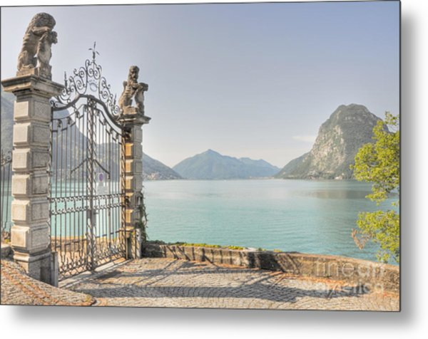 Gate On The Lake Front Metal Print