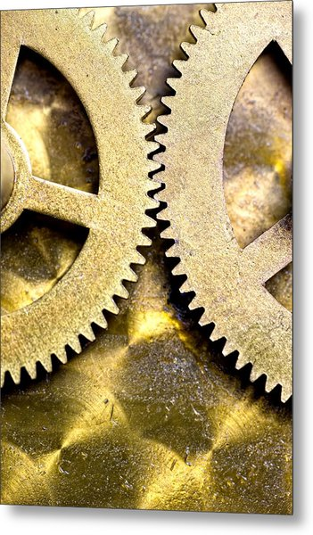 Gears From Inside A Wind-up Clock Metal Print
