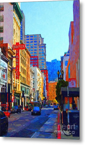 Geary Boulevard San Francisco Metal Print by Wingsdomain Art and Photography