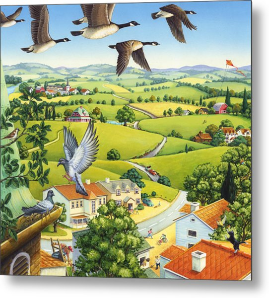 Geese Above The Town Metal Print
