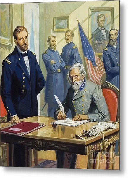 General Ulysses Grant Accepting The Surrender Of General Lee At Appomattox  Metal Print