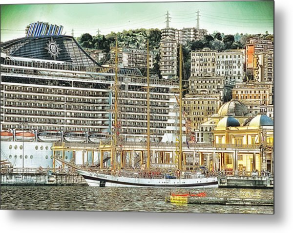 Genova Cruising And Sailing Ships And Buildings Landscape Metal Print by Enrico Pelos