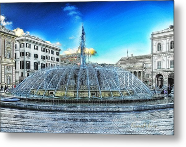 Metal Print featuring the mixed media Genova De Ferrari Square Fountain And Buildings by Enrico Pelos