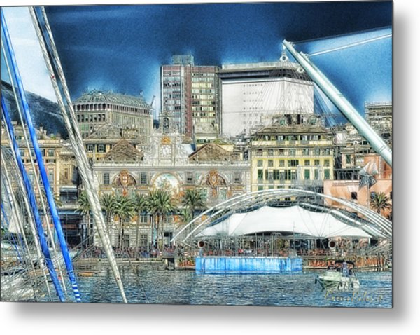 Genova Expo Area With Saint George Building Metal Print by Enrico Pelos