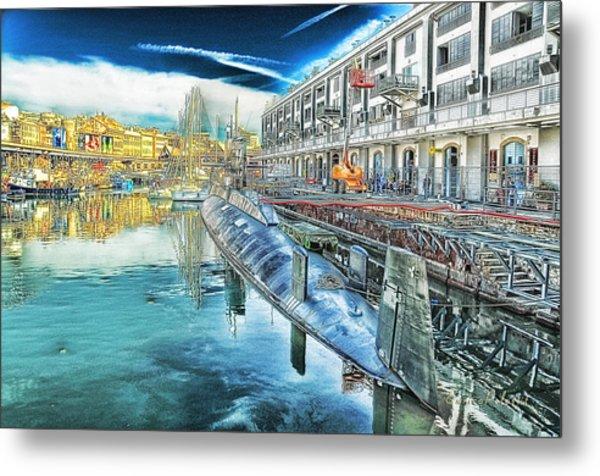 Metal Print featuring the digital art Genova Nazario Sauro Italian Navy U Boat At The Galata Sea Museum by Enrico Pelos