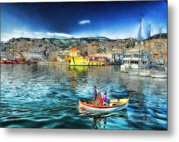 Genova Port Ships And Boats Metal Print by Enrico Pelos