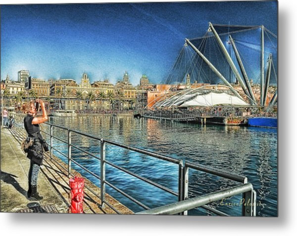 Metal Print featuring the mixed media Genova Saint George Building Facade And Expo Area Photographer by Enrico Pelos