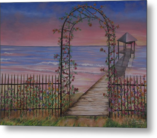 Gentle Trellis Of Roses Metal Print