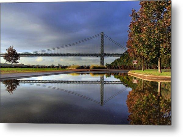 George Washington Bridge Reflections Metal Print by Dave Sribnik