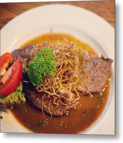 German Food Zwiebelrostbraten Metal Print