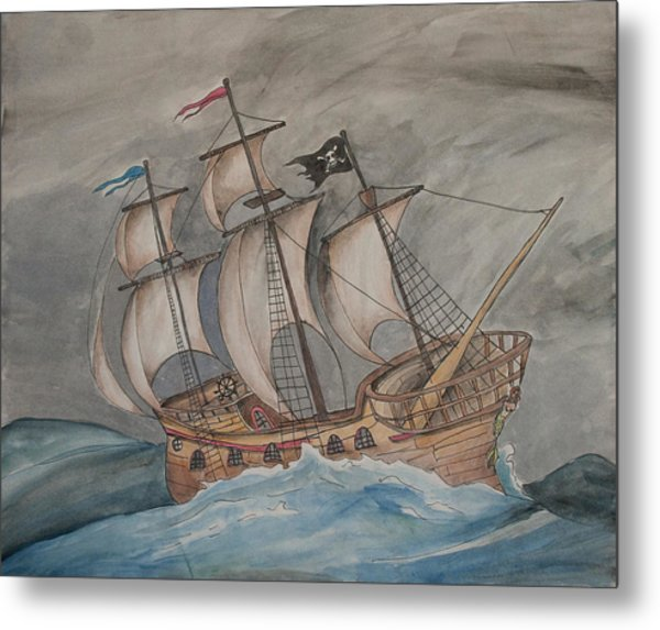 Ghost Pirate Ship Metal Print