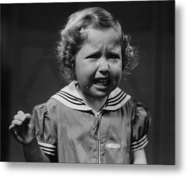Girl (4-5) Crying, (b&w) Metal Print by George Marks