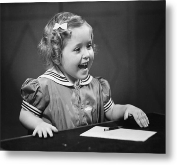 Girl (4-5) Sitting At Table, Smiling, (b&w) Metal Print by George Marks