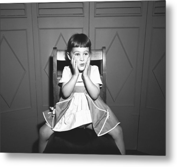 Girl (5-5) Sitting Astride Chair, Making Face, (b&w), Metal Print by George Marks