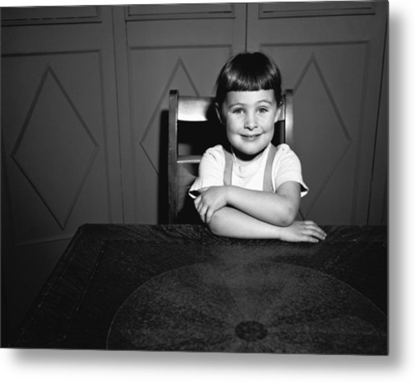 Girl (5-5) Sitting At Table, (b&w), Portrait Metal Print by George Marks