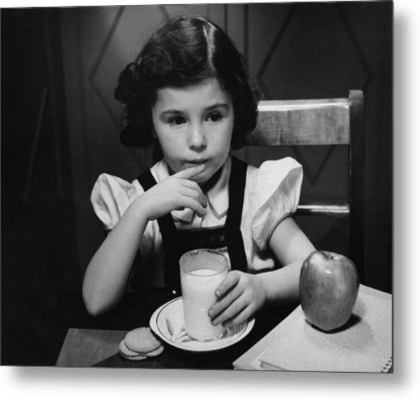 Girl (6-7) Sitting At Table, Having Breakfast, (b&w) Metal Print by George Marks