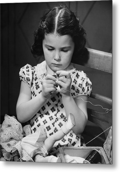 Girl (6-7) Threading Needle, (b&w) Metal Print by George Marks