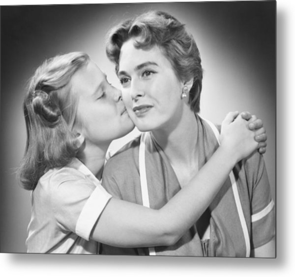Girl (8-9) Kissing Mother, (b&w) Metal Print by George Marks