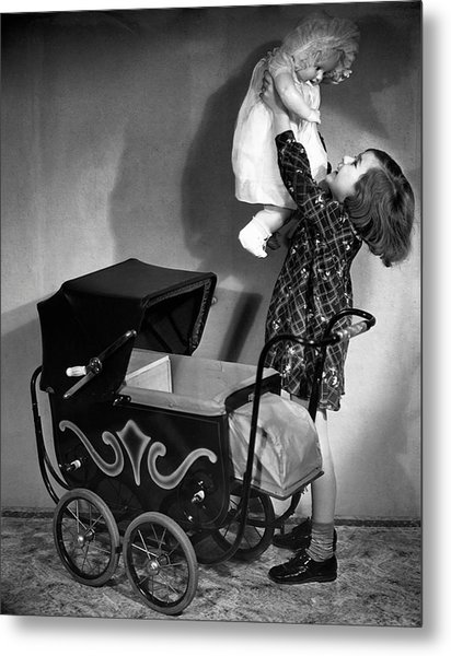 Girl And Baby Metal Print by George Marks