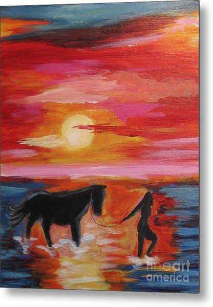 Girl And  Horse Metal Print