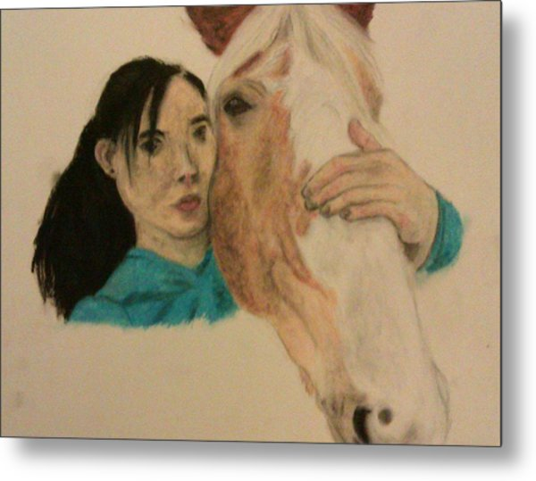 Girl And Pony Metal Print by Jamie Mah