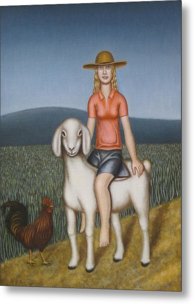 Girl Goat And Chicken Metal Print by Thomas Jeffreys
