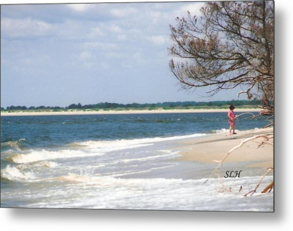 Girl On The Beach Metal Print