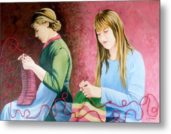 Girls Knitting Metal Print