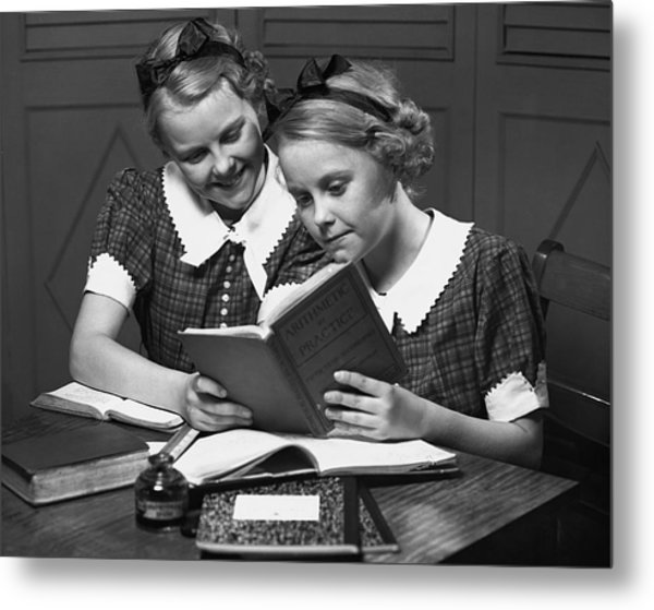 Girls Studying Tegether Metal Print by George Marks
