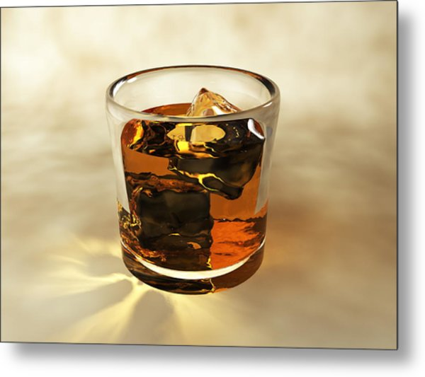 Glass Of Whiskey, Computer Artwork Metal Print by Christian Darkin