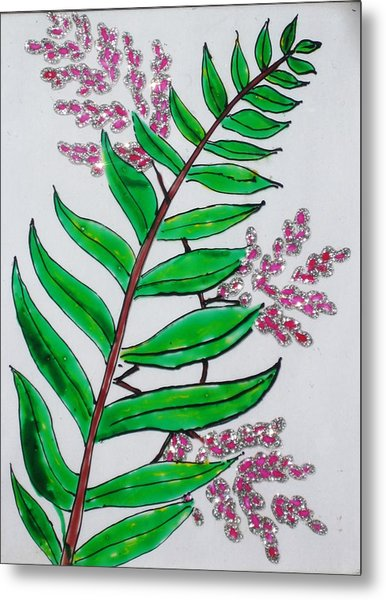 Glass Painting-plant Metal Print by Rejeena Niaz