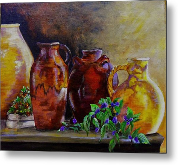 Glazed Pottery Metal Print