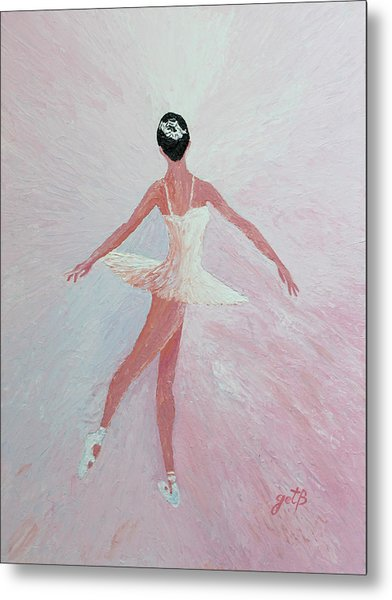 Glowing Ballerina Original Palette Knife  Metal Print
