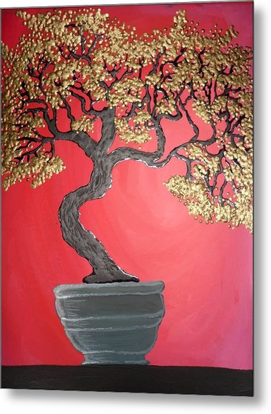 Golden Bonsai Metal Print by Silvia Louro