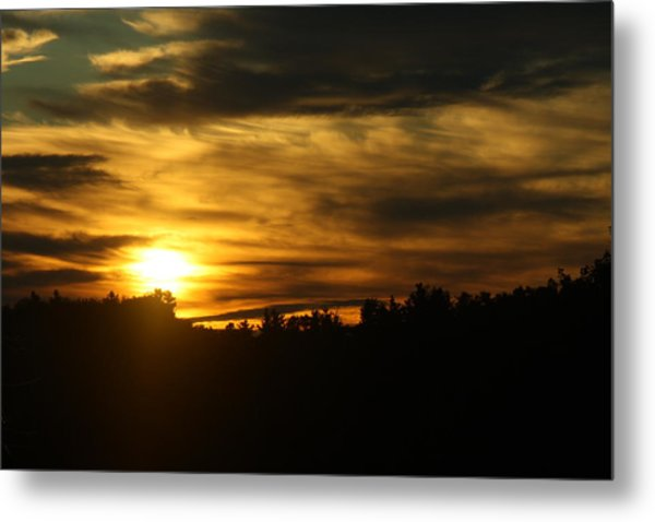 Golden Brush Strokes Metal Print