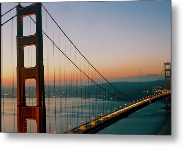 Golden Gate Blue Metal Print by Trent Mallett