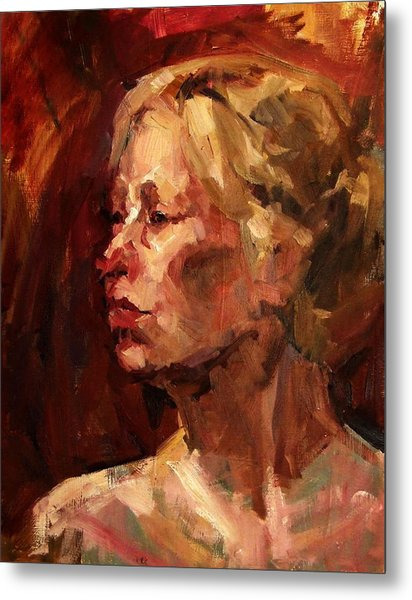 Golden Hair Portrait Of Woman Head In Crimson Yellow Hardworking Fieldworker Mother Whos Thoughtful Metal Print