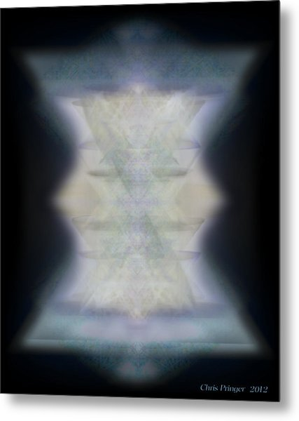Golden Light Chalices Emerging From Blue Vortex Myst Metal Print
