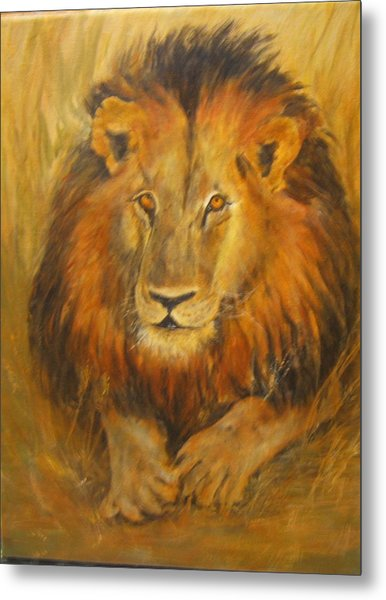 Golden Lion Metal Print