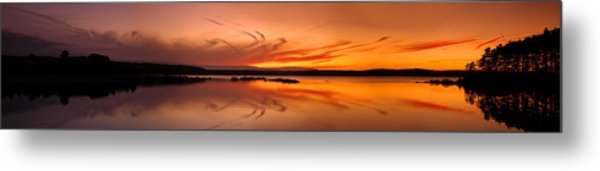 Golden Sunset Panorama On A Quiet Lake Metal Print
