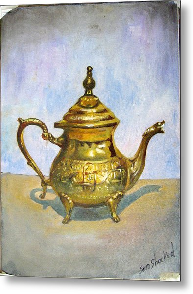 Golden Tea Kettle Metal Print