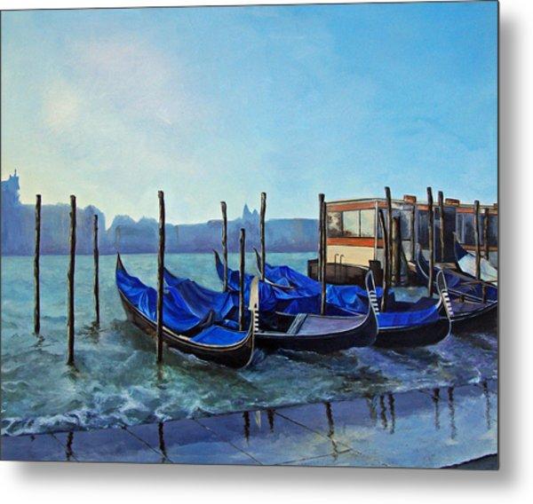 Gondolier Dock Venice Italy Metal Print