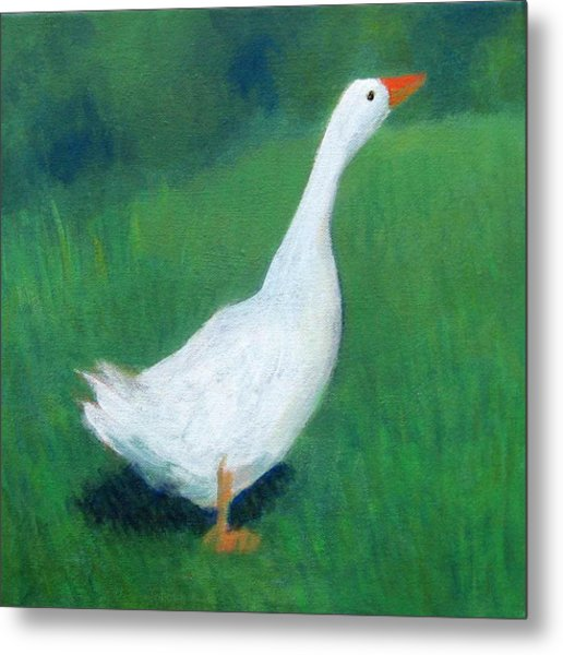 Goose On Green Metal Print